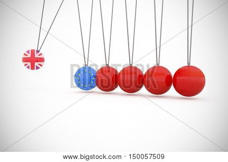 Great britain national flag against graphical presentation of red newtons cradle