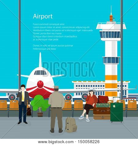 Waiting Room in Airport and Text ,View on Airplane and Control Tower through the Window from a Waiting Room ,Travel Concept, Flat Design, Vector Illustration