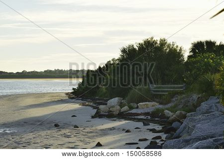 Rocky shoreline at the beach on the Gulf of Mexico.