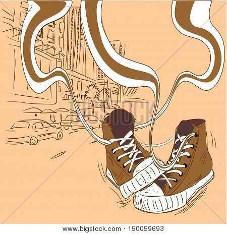 Stylish shoes snickers at an abstract urban background