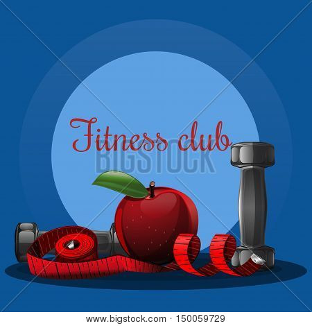 Fitness club logo. Logo design for sports club, gym, sports hall. Fitness dumbbell, apple and measuring tape. Vector illustration