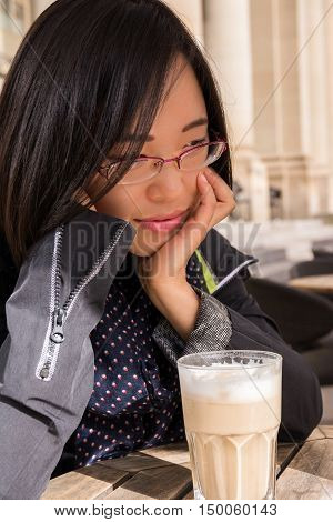 Beautiful Asian Girl Portrait Cafe Drinking Coffee Customer Restaurant Latte Macchiato Glass Outside