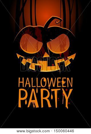 Halloween Party Design template, with pumpkin and place for text, rasterized version
