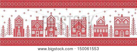 Scandinavian style and Nordic culture inspired Christmas and festive winter wonderland village pattern in cross stitch style with gingerbread house, church little town buildings, trees and snow