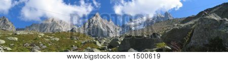 Mountains With Ice Fields, France, The Alps, Panorama