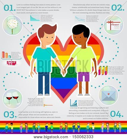 Love marriage couple of two men infographic set. Same-sex marriage. Vector illustration image LGBT International flag (lesbian gay bisexual). Flat style