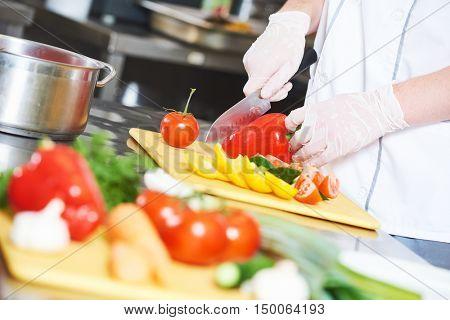 cook chef hand preparing salad food in kitchen