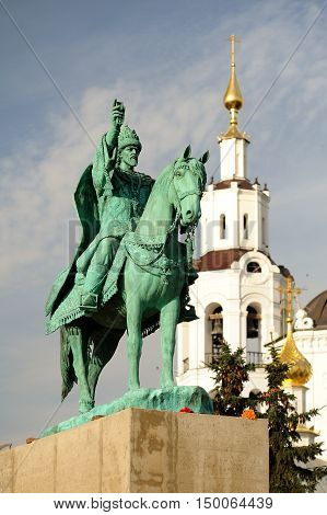 Orel Russia - October 03 2016: First in Russia Ivan the Terrible monument on concrete pedestal near Bogoyavlenskaya church vertical
