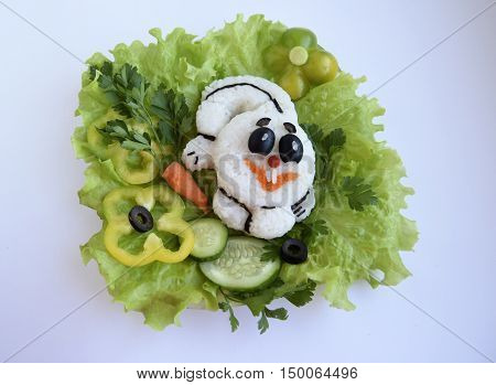 The cheerful hare is made of rice. Ridiculous food for good mood