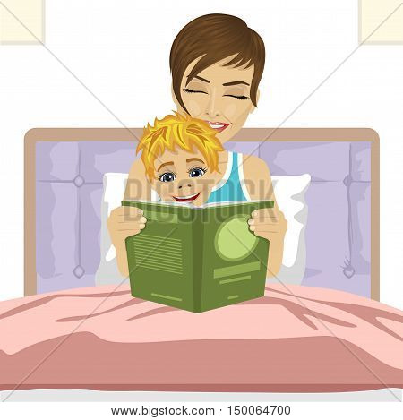 young mother reading the tale story to her son together sitting on bed