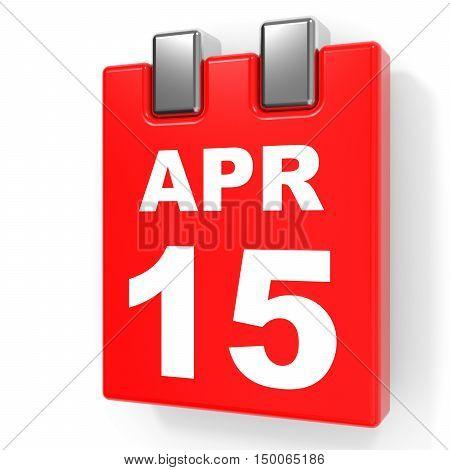 April 15. Calendar On White Background.