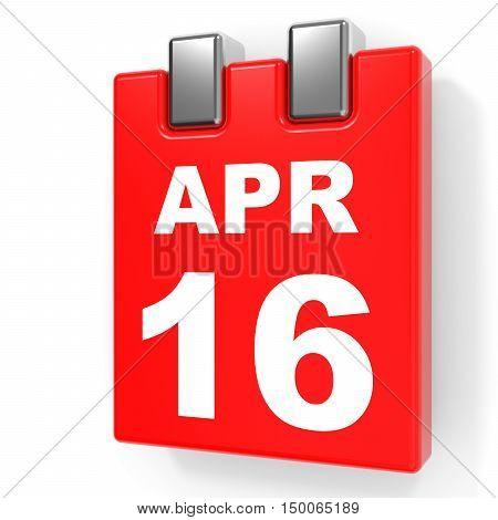 April 16. Calendar On White Background.