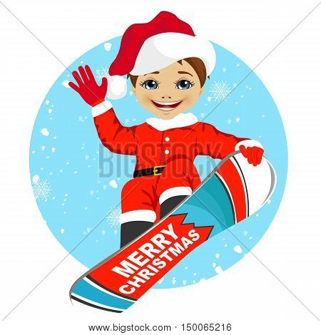 little boy wearing santa claus costume snowboarding over winter background