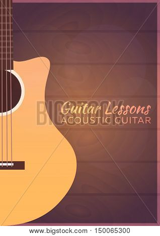 Guitar Lessons, School. Vector Flat Illustration. Music.