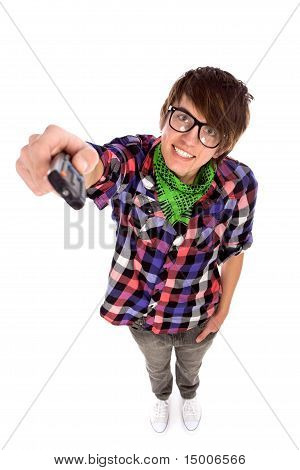 Young man holding remote control