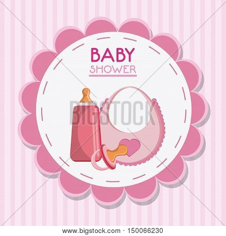 Pacifier bottle and baby bib. Baby shower and childhood theme. Isolated and colorful design. Vector illustration