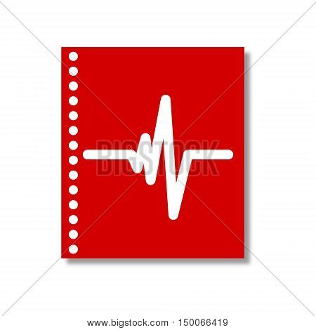 White Heart beat icon on red note book