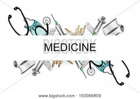 illustration of medical devices. phonendoscope, bandage, vials