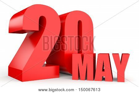 May 20. Text On White Background.