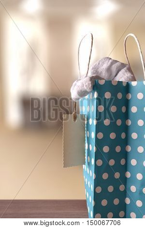Blue Bag With New Clothes Inside In A Shop Vertical