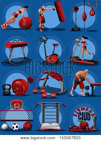 Set icons for fitness club isolated on a blue background. Fitness aerobic strength and body shaping exercises. Icons on the sports theme. Sport equipment composition banner. Vector illustration