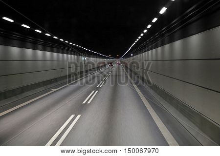 Cars in a tunnel on Oresund bridge between Sweden and Denmark