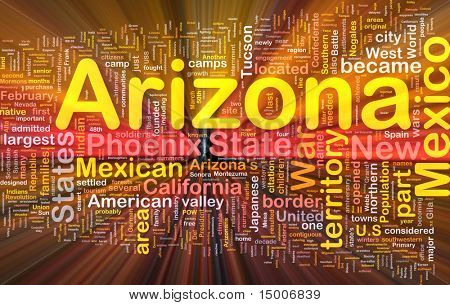 Background concept wordcloud illustration of Arizona American state glowing light