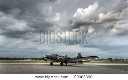 American World War 2 Bomber sitting on airport runway