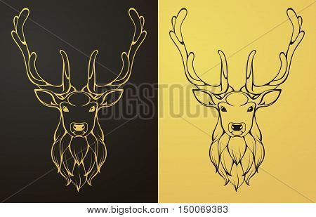 Gold and black deer icon. Linear graphic stylized animal vector illustration. Deer head with horns can be used as design for tattoo, t-shirt, bag, poster, postcard