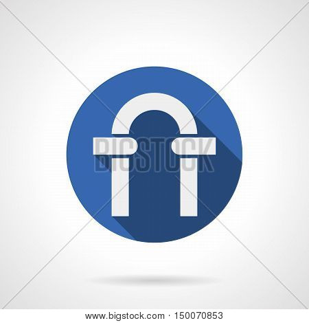 White silhouette of round archway frame. Classic arch portal with columns and stones. Architecture elements. Blue circle flat design vector icon.