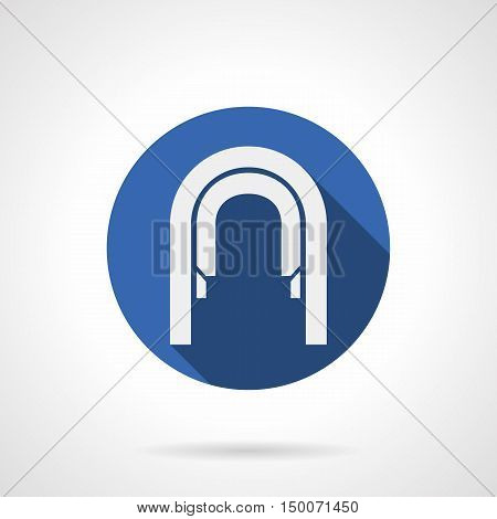 White silhouette arcade of round arches. Arched passage abstract symbol. Archiecture elements for interior, corridor. Blue circle flat design vector icon.