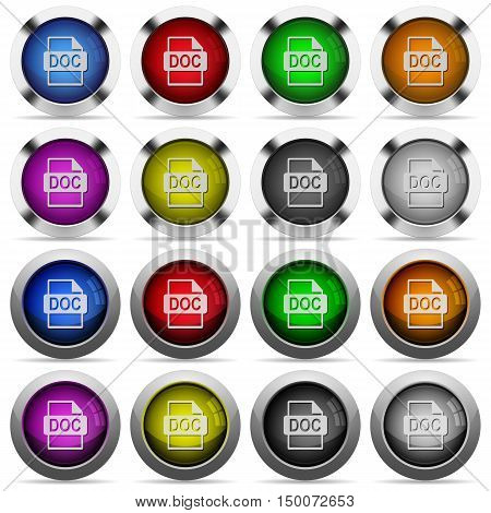 Set of DOC file format glossy web buttons. Arranged layer structure.