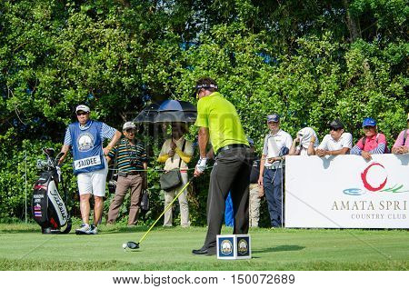 CHONBURI - DECEMBER 13 : Thongchai Jaidee of Thailand player in Thailand Golf Championship 2015 at Amata Spring Country Club on December 13 2015 in Chonburi Thailand.