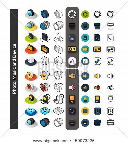 Set of icons in different style - isometric flat and otline, colored and black versions, vector symbols - Photo music and device collection