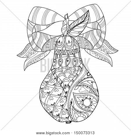 Honey pear doodle with ribbon .Hand drawn vector illustration. Sketch for tattoo adult coloring anti stress book. Zen art collection boho style.