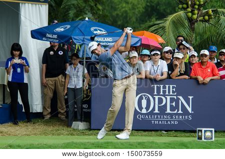 CHONBURI - DECEMBER 13 : Clement Sordet of France player in Thailand Golf Championship 2015 at Amata Spring Country Club on December 13 2015 in Chonburi Thailand.