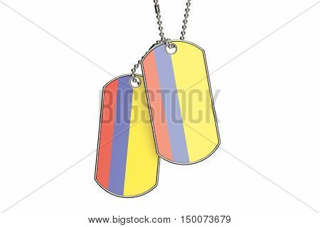 Colombian Dog Tags 3D rendering isolated on white background