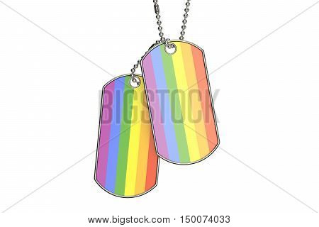 Homosexual Dog Tags 3D rendering isolated on white background