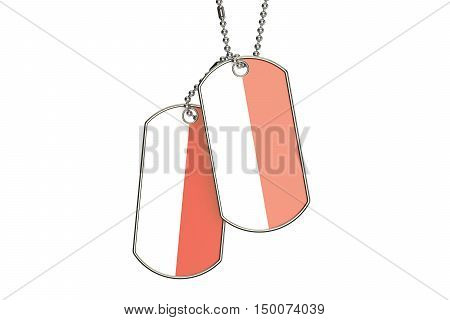 Indonesian Dog Tags 3D rendering isolated on white background