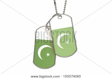 Pakistani Dog Tags 3D rendering isolated on white background