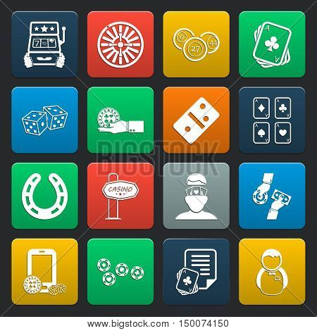 gambling, casino 16 icons universal set for web and mobile flat