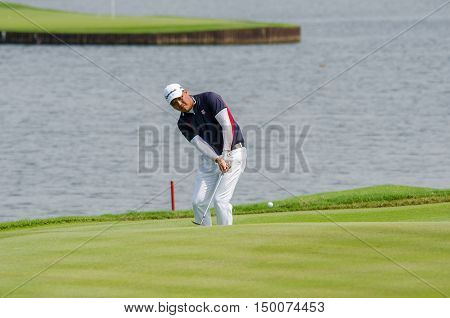 CHONBURI - DECEMBER 13 : Lu Wei-chih of Taiwan player in Thailand Golf Championship 2015 at Amata Spring Country Club on December 13 2015 in Chonburi Thailand.