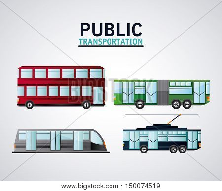 Bus cable car trolley and railways vehicle icon. Public Transportation travel and ride theme. Isolated and colorful design. Vector illustration