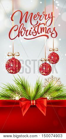 Merry Christmas lettering. Merry Christmas inscription with fir sprigs, bow, snowflakes, Christmas balls. Handwritten text with decorative elements