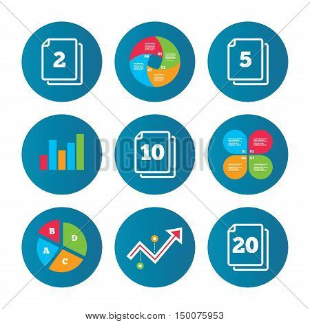 Business pie chart. Growth curve. Presentation buttons. In pack sheets icons. Quantity per package symbols. 2, 5, 10 and 20 paper units in the pack signs. Data analysis. Vector