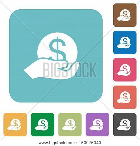 Flat save money icons on rounded square color backgrounds.