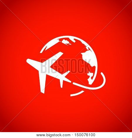 Plane Globe Icon stock vector illustration flat design