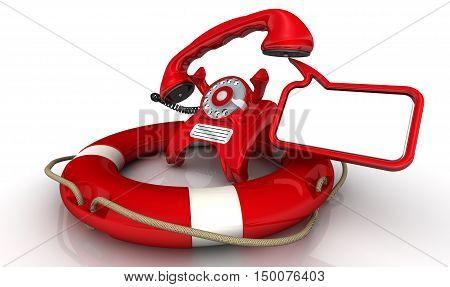 Assistance by phone. Vintage telephone in red standing on the lifebuoy with lifted handset and dialog cloud. Isolated. 3D Illustration