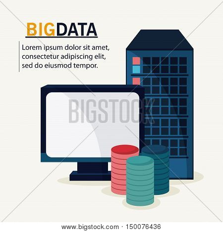 Computer icon. Big data center base and web hosting theme. Colorful design. Vector illustration