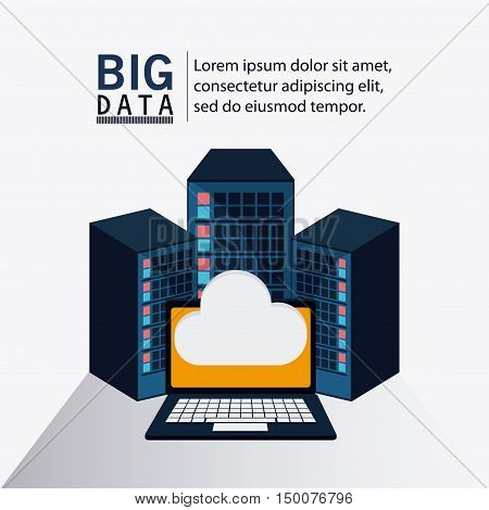 Cloud and laptop icon. Big data center base and web hosting theme. Colorful design. Vector illustration